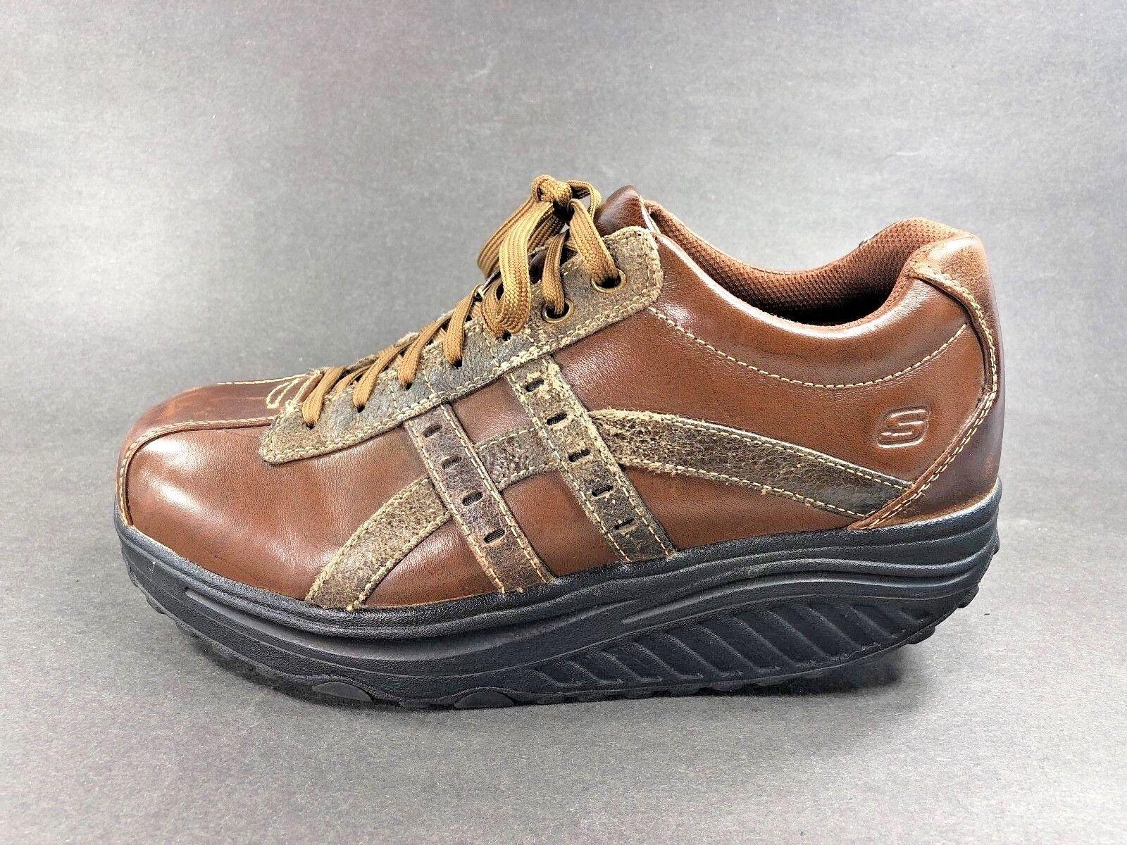 Skechers™ ~ Brown Pelle SHAPE-UPS Shoes ~ Casual ~ Uomo Sz 9 ~ GOOD