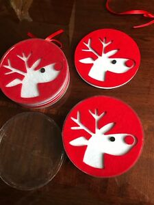 Set-Of-8-Cute-Felt-Coasters-Reindeer-Red-White-Christmas-New