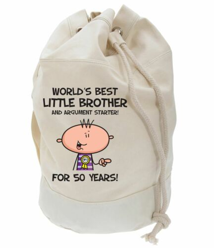 Worlds Best Little Brother 50th Birthday Present Duffle Bag Gifts For Him