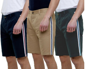 Mens-Fashion-100-Woven-Cotton-Summer-Chino-Shorts-Side-Tape-Taping-30-38