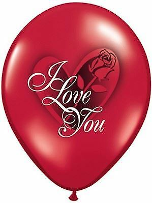 """6 x 11/"""" Red /'I Love You/' Latex balloons with Rose and heart image"""