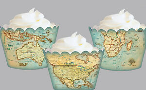 World map travel birthday party wraps cupcake cases cake wrappers image is loading world map travel birthday party wraps cupcake cases gumiabroncs Gallery