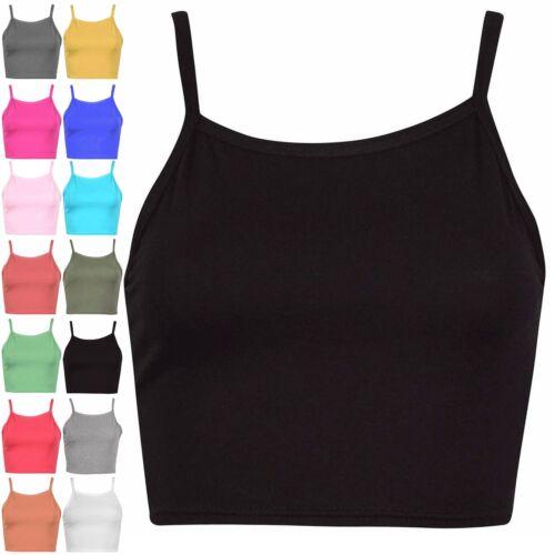 Womens Ladies Sleeveless Camisole Vest Plain Hi Neck Bralette Stretchy Crop Top