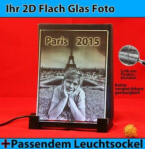 Flachglas Glas 3D Laser Foto Gravur Geschenkidee zu Weihnachten 2D zu 3D Kind