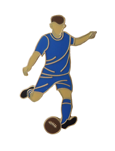 All Blue Football Player Gold Plated Pin Badge