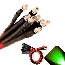 5 X Pre Wired 6v 3mm Pure Green Leds Prewired 6 Volt Dc Led Light Rc 5v 4v 3v