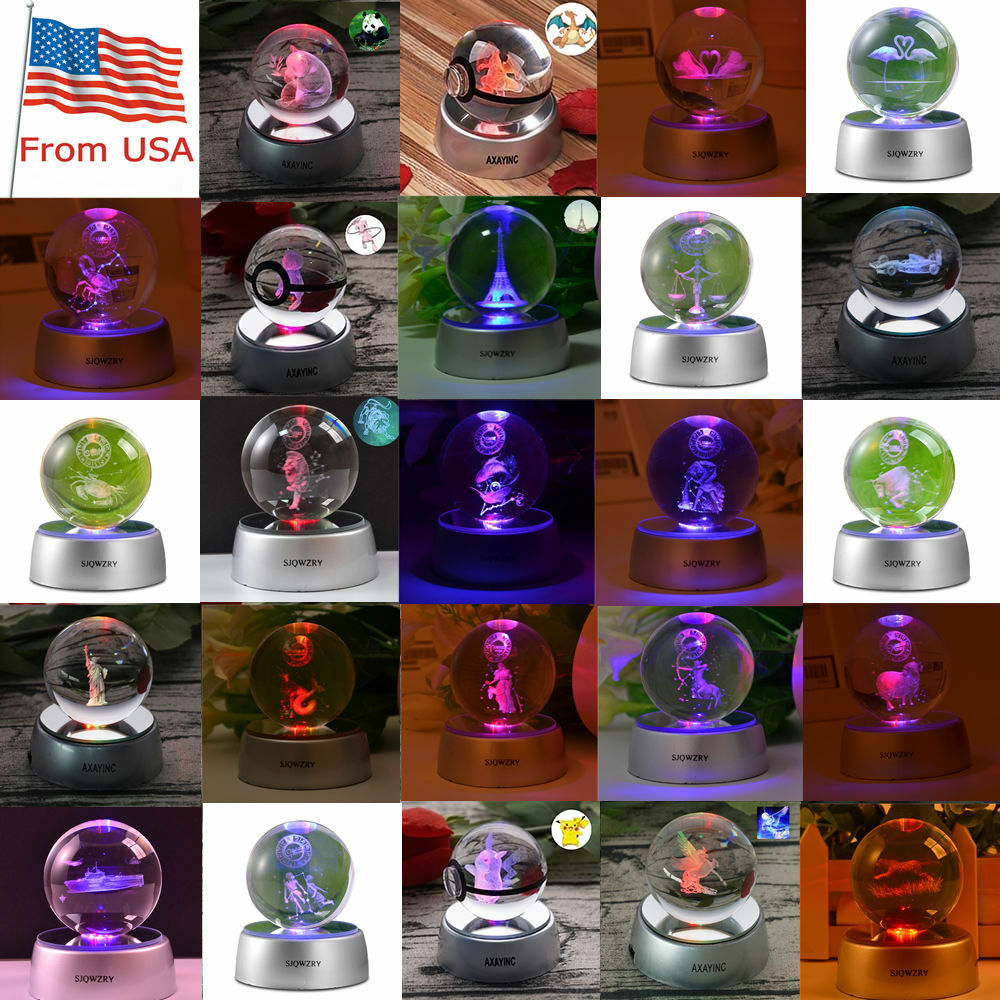 Constellation pokémon - 3d - led - kristall - dekor nacht licht der lampe handwerk geschenk
