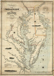 1862-Coast-Survey-Map-Chart-Chesapeake-Delaware-Bay-Art-Poster-Print-Wall-Decor