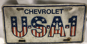 Chevrolet USA-1 Embossed Metal License Plate Sign