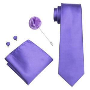 Wedding-Men-039-s-Tie-Sets-Purple-Solid-Tie-Silk-Tie-Party-Lapel-Pin-Hanky-Cufflinks