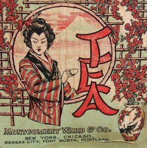 Antique-TEA-Can-Montgomery-Ward-Japanese-Theme-Large-5-lb-circa-1913