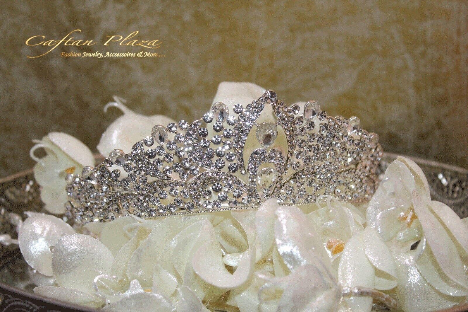 Tiara XXL Diadem Crown Rhinestone Crystal Bridal Wedding Silver Elegant, New