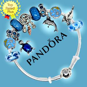 Authentic Pandora Bracelet Bangle Blue With Dolphin Turtle European Charms Beads Ebay