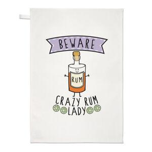 Beware-Crazy-Rum-Lady-Tea-Towel-Dish-Cloth-Funny-Joke-Drunk