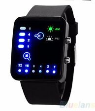 Led Binary Digital Wrist Watch Mens Fashion Sport WristWatch Black Silicone Strp