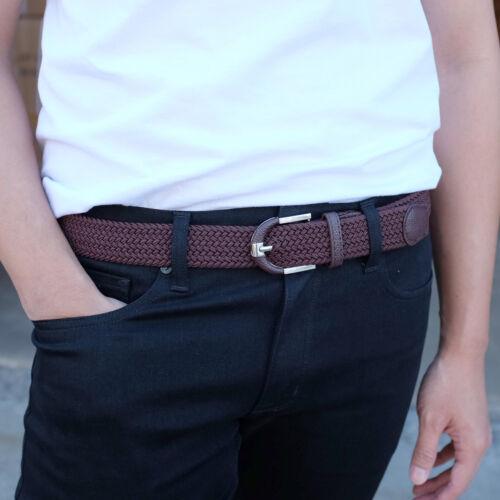 Falari Men Women Braided Elastic Stretch Belt Casual Canvas Fabric Woven Belt