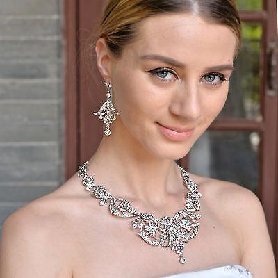 H-Quality Bridal Leaf Bridal Necklace Earrings Set Clear Austrian Crystal Women