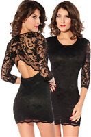 sexy Minikleid Party Kleid dress Abendkleid schwarz Spitze XS S M 34 36 38  88c