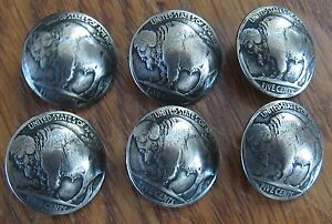 (6) BUFFALO NICKEL BUTTONS / CONCHOS / (tails)