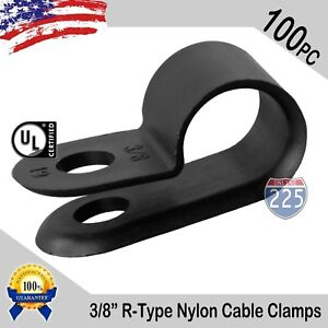 "100 PCS PACK 3/8"" Inch IN R-Type CABLE CLAMP NYLON BLACK HOSE WIRE ELECTRICAL UV"