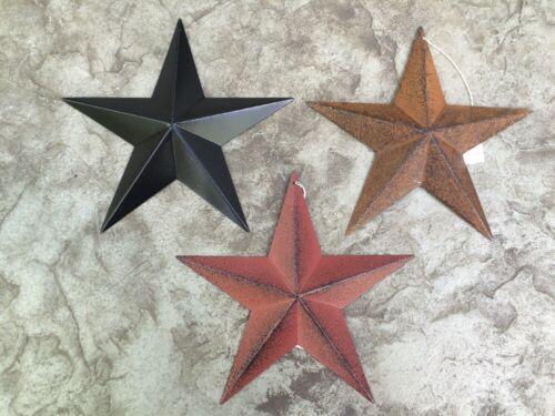 "RUST//BURGUNDY /& BLACK BARN STARS 8/"" PRIMITIVE COUNTRY FREE SHIPPING! Set of 3"