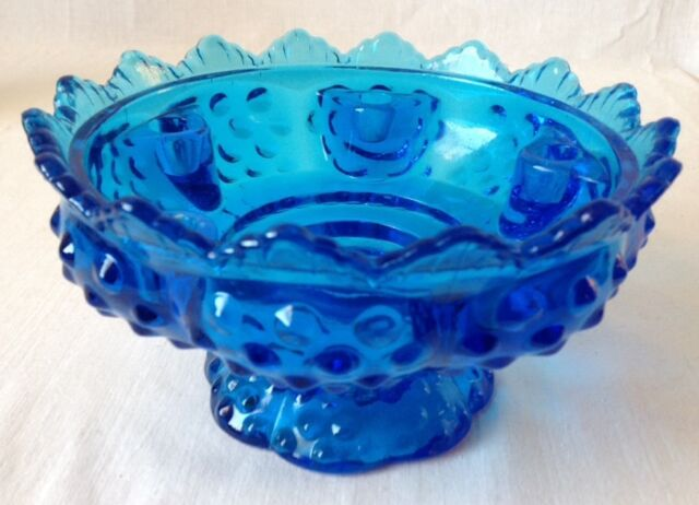 Vintage Fenton Blue Hobnail Glass 6 Candle Centerpiece Bowl Unsigned