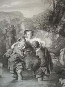 """Gravure 1860 """" En Traversant Le Gué """" W.mulready 370x260 Tjacwnuo-10041757-639991164"""