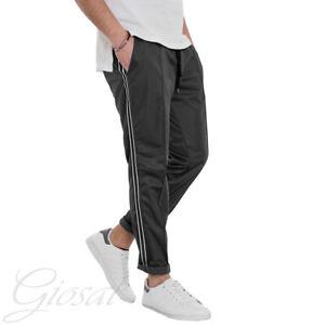 Pantalone-Uomo-Tuta-Sport-Relax-Comfort-Nero-Righe-Elastico-Casual-MOD-GIOSAL