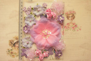 LAVENDER-amp-PINK-Mix-24-PAPER-amp-Fabric-Flowers-7-Styles-15-90mm-across-MH-VE4