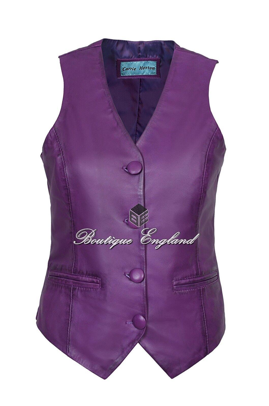 Ladies Purple Waistcoat Cool Casual Fashion Vest Soft Lambskin Leather 5701