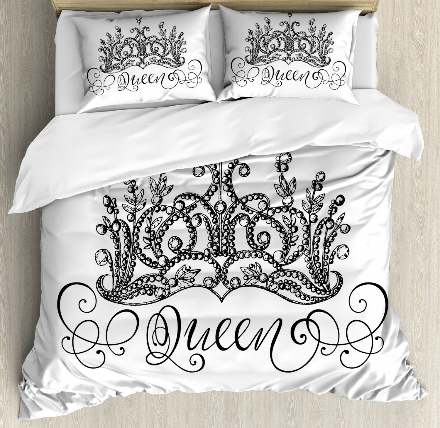 Queen Duvet Cover Set with Pillow Shams Crown Lettering Baroque Print