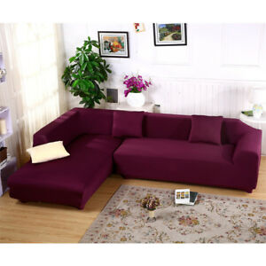 Hot L Shape Stretch Elastic Fabric Sofa Cover Sectional Corner Couch