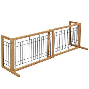 Pet Fence Gate Free Standing Adjustable Dog Gate Indoor Solid Wood ...