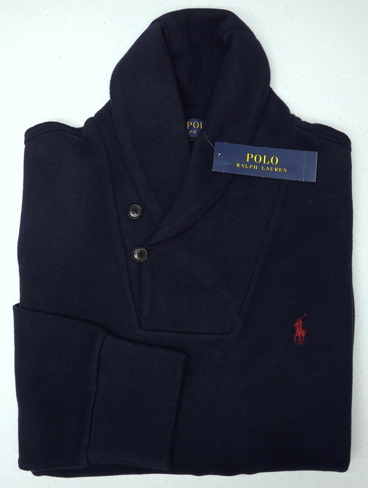 NWT 125 Polo Ralph Lauren Navy Blau Sweater  Herren Größe L Long Sleeve Cotton NEW