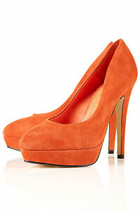 Topshop Orange Heels Suede Platform Pointed Court Heels Orange Schuhe UK 3 EURO 36 ... e3e07e