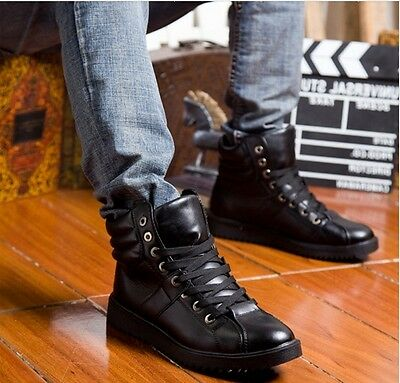 Mens Lace Up Faux Leather Round Toe Shoes Winter Warm waterproof  Ankle Boots