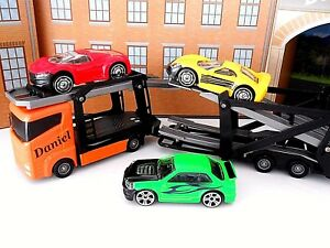 Personalised Toy Car Transporter Lorry Truck And 3 New Toy Cars Any Name Boxed Ebay