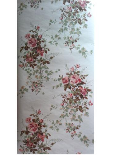 $4 SAMPLE Thomas Strahan Historic Reproduction Wallpaper Chantilly Rose #1