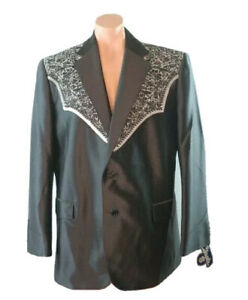 NWT-Circle-S-48R-Western-Sport-Coat-San-Miguel-Embroidered-Yoke-Black-Blazer