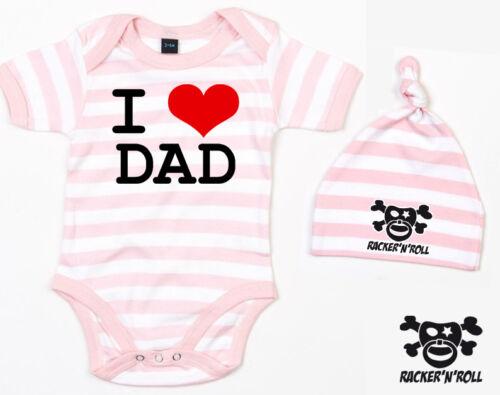 I LOVE DAD Body+Mütze Set rosa//weiß gestreift