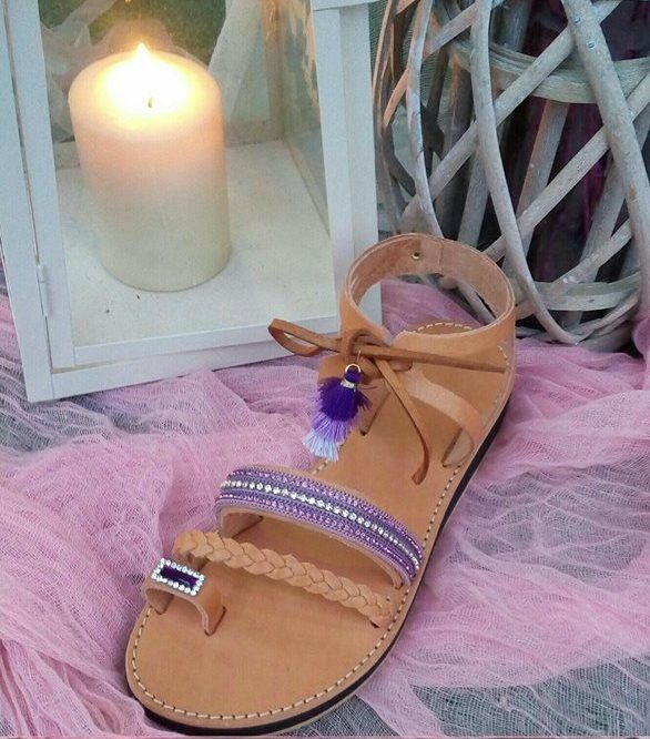 NISOS  Ancient hand made greek sandals summer flat  decorated