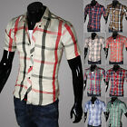 New Mens Stylish Casual Dress Shirt Slim Fit Shirts Short Sleeve Shirt 16Colors