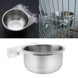 Pet Stainless Steel Bird Cup with Wire Food Water Bowl Feeder Coop Cages Cup