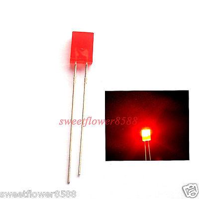 100pcs 2x5x7mm Red Diffused Led Rectangle Rectangular Light LED Lamp Bulb New