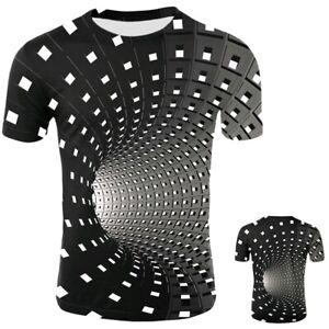 Men-Women-Short-Sleeve-Tee-Tops-3D-Swirl-Print-Optical-illusion-Hypnosis-T-Shirt