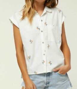 O-039-Neill-NEENA-Womens-Button-Front-Cap-Sleeve-Shirt-Small-Off-White-NEW
