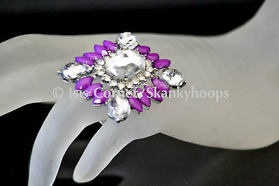 LARGE SQUARE BLING ACRYLIC RHINESTONES (OPEN BACK/ADJUSTABLE) RING 6 DIFF COLORS
