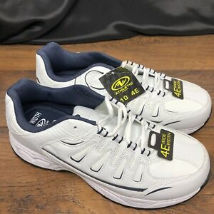 Brand New Shoes Size 10E WIDE WIDTH Mens Athletic Works White Navy Memory Foam