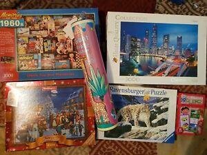 Job-Lot-6-x-3000-500-pieces-jigsaw-puzzles-Waddington-Ravensburger-libre-p-amp-p