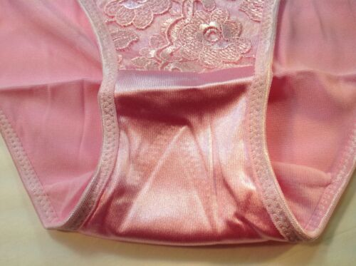 "Pink Satin Floral W//decoration Women Panties,Bikinis /""Eva Cervantes/"" Size S"